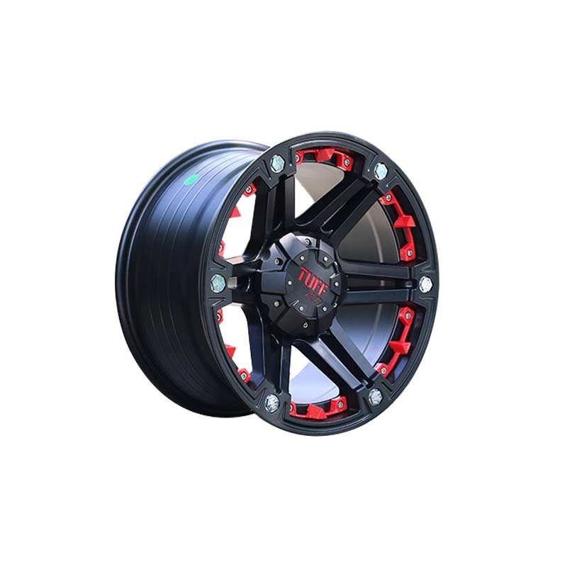 665 matte black with red rims sports wheels used for SUV car,  size have  15inch 16inch .17inch  18inch and 20inch  the truck wheels, pcd have  5*127, 6*139.7, 6*114.3 etc.