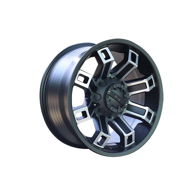 816 black with white SUV sports wheels used for SUV car, popular size have 15inch 16inch 17inch 18inch and 20 inch truck wheels, pcd have  5*127, 6*139.7, 6*114.3 etc.